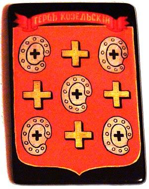 Изображение козельского герба на памятном знаке, вручаемом от имени козельской общественности студией Козельск.TV